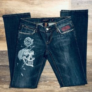 Ed Hardy Studded Skull and Rose Jeans Size 27